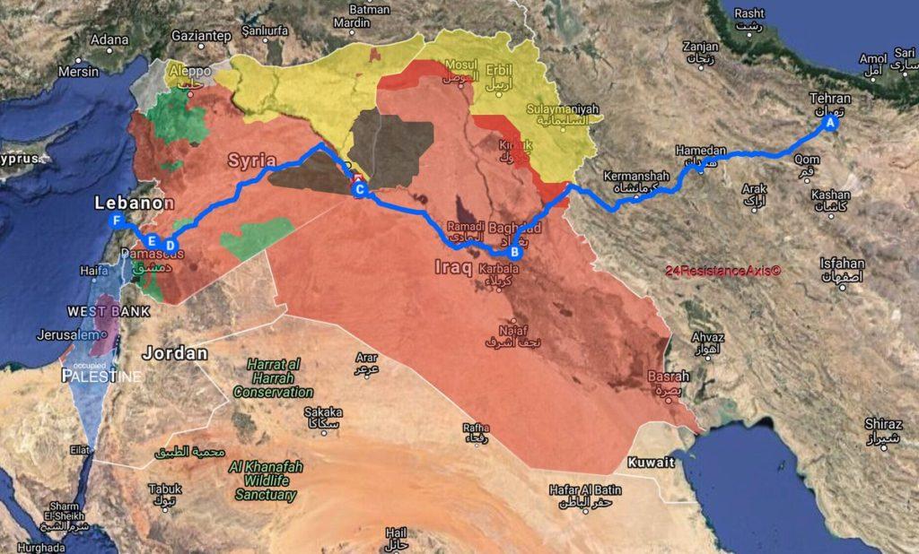 predlagana prometna povezava Iran-Irak-Sirija-Libanon
