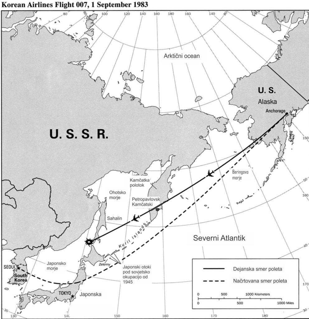 Predvideni in resnični polet korejskega potniškega letala 747 na letu 007